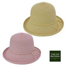 Ladies Summer Up Brim Cloche Straw Hat Pink or Natural Straw Adjustable Size