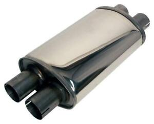 "Jetex Exhaust Oval Silencer Box 2.5"" Stainless Steel 2 In/Out Case Length 315mm"