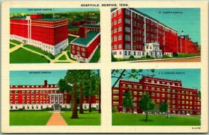 "Memphis, Tennessee Postcard ""HOSPITALS"" 4 Hospital Views Linen c1940s Unused"