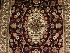 Mehroon Ruby Red Exclusive Area Rug Hand Knotted Wool Silk Carpet (6 x 4)'