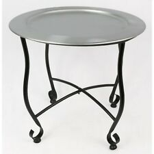 MOROCCAN TRAY TABLE 40CM ROUND ALUMINIUM METAL SIDE TABLE OCCASIONAL FURNITURE