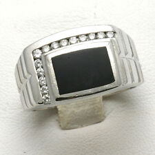 Vintage Diamond Black Onyx Men's Ring 14k white gold Square 1/4 carat Estate