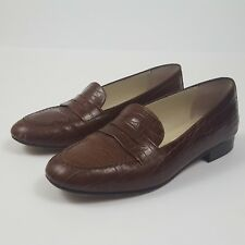 Talbots Womens Flats Penny Loafers Shoes Leather Brown Croc Print Italy Size 6.5