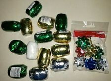 14 rolls New Sealed Christmas Curling Ribbons Tiny Gift Bows 15 Pc Lot Wrapping