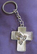 Key Chain Praying Hands - AA Symbol Cross - Silver Style - Ornament/Decor - New