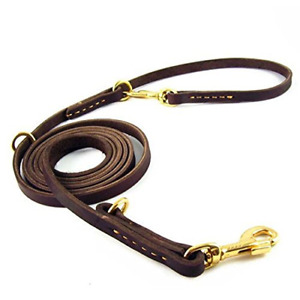 Multi-functional Dog Leash, 2.5M Long Handmade Leather Adjustable Hands Free for