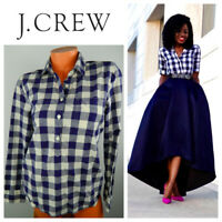 J Crew Perfect Shirt Top Popover Small Gingham Plaid Navy Blue Blogger Fave  m