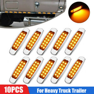 10X 12 LED Side Marker Amber Clearance Lights Indicator for Heavy truck Trailer