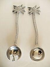 Palm Tree Shape Metal Salad Serving Fork & Spoon Tongs. Approx 13 1/4 Long
