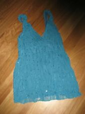LADIES CUTE BLUEY GREEN LINED POLYESTER SLEEVELESS TOP BY TEMT SIZE 12 - CHEAP
