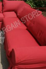 Pottery Barn Basic Sofa Sectional slipcover RIGHT ARM SOFA CRANBERRY TWILL RED