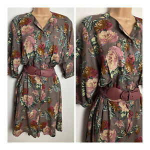 Vintage 80's Yessica Pink Tones Floral Print Linen Mix Belted Playsuit Size 12