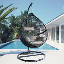 Black Swing Egg Pod Hanging Chair Ratten Wicker Outdoor Furniture With Cushions