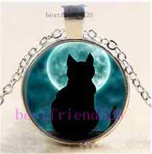 Black Cat With Moon Cabochon Glass Tibet Silver Chain Pendant Necklace