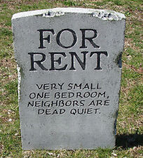 "Halloween 'For Rent' tombstone prop decoration 24""x16""x2"""