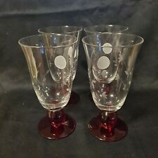 Princess House MODERNA Red Footed Glasses (3634) 2 Boxes of 4 Each