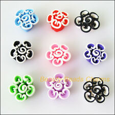5Pcs Mixed Polymer Fimo Clay White Side Flower Spacer Beads Charms 15mm