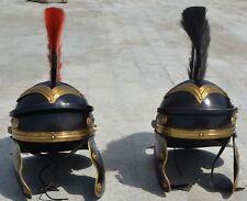 2 PIECES Medieval Roman Centurion Helmet thick BLACK-RED plume ROMAN HELMET