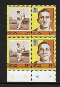 1984 Nevis - Leaders of the World - Cricketers - Block - Mint & Unhinged.