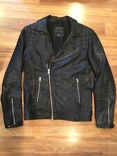 All Saints Spitafields Kushiro Leather Motorcycle Jacket Black Sz Small MINT