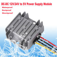 DC Power Supply Converter 12/24V To 5V 5A 25W Buck Step Down Module Waterproof I