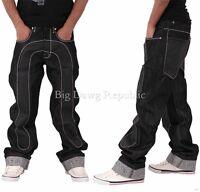 Time Is Money Men's Denim Jeans, Black Patch, Hip Hop Baggy, Skater, Loose Fit