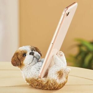 Adorable Shih Tzu Puppy Dog Cell Phone Holder Desk Stand Statue