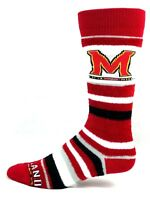 Maryland Terrapins NCAA Fuzzy Crew Socks Red Black White and Gray