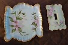Handpainted Ceramic Dish & Light Switch Plate Cover gold trim light green floral