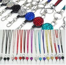 LANYARD ID CARD HOLDER STRAP NECK RHINESTONE AND YOYO RETRACTABLE REEL  HOLDER 1f3e89750