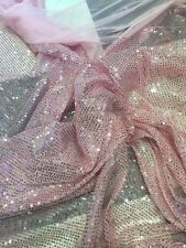 STUNNING ALL OVER BLING BABY PINK HOLOGRAM SPIDER MESH SEQUIN
