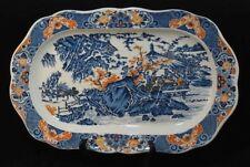 Imari Charger Vintage Japanese Porcelain Platter Blue White Orange Marked