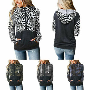 Camo Zebra Print Sweatshirt Hooded Jumper Sweater Zipper Loose Pullover Tops^