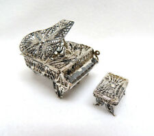 Vintage 925 Sterling Silver Filigree Miniature Baby Grand Piano & Bench Set
