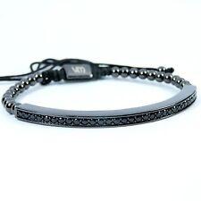 Men Women Beads Bracelet Large Thin Plate Inlaid Crystal 24k Black Gold Plated