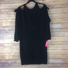 xhilaration Juniors Dress Boucle Knit Cold Shoulder Sweater Tight Fit Black L