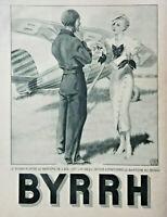 PUBLICITÉ DE PRESSE 1934 BYRRH L'AVIATEUR - AVION - GEORGES LEONNEC