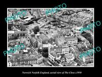 OLD LARGE HISTORIC PHOTO NORWICH NORFOLK ENGLAND AERIAL VIEW OF THE CLOSE c1950