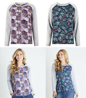 Weird Fish Floral Print Round Neck Long Sleeves Cotton Tunic Top T shirt Blouse
