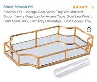 Ethereal Ore Vintage Gold Vanity Tray W/mirrored Bottom Vanity Organizer!!