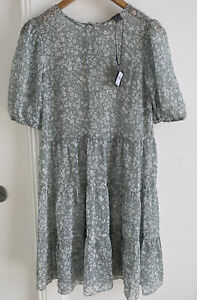 Primark Slate Grey & White Floral Summer Dress. New With Tags Size 8