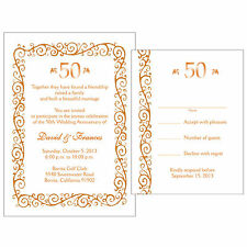 25 Personalized 50th Golden  Anniversary Invitations w/ Response Cards - AP-008R