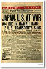 Japan U.S at War Headline Pearl Harbor - NEW Vintage Historic Newspaper POSTER