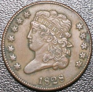 1828 Classic Head Half Cent 12 Star Variety AU About Uncirculated 1/2c Old US
