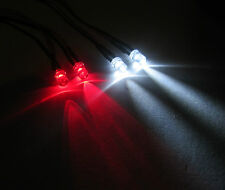 R/c Buggy Auto Camión Luz Led Kit / 2x Rojo 2x blanco LED 5mm está interruptor + PP3 Clip