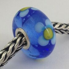 Authentic Trollbeads Ooak Murano Glass Unique Blue Yellow Flower Bead Charm, New