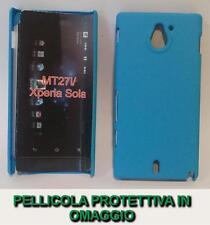 Pellicola + custodia BACK cover RIGIDA AZZURRA per Sony Xperia sola MT27i