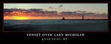 Poster Panorama Sunset over Lake Michigan Grand Haven Lighthouse Panoramic Print