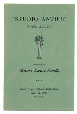 Eleanor Dance Studio Billings Montana 1946 Dance Recital Program