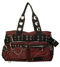 BANNED STRIPED SHOULDER BAG Handcuff Canvas Handbag Gothic Rock Black RED